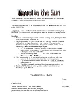 Create a Travel Brochure to the Sun - with rubric