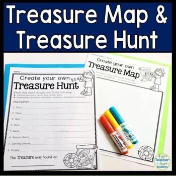 Treasure Map and Treasure Hunt:Cardinal and Intermediate Directions Activity!