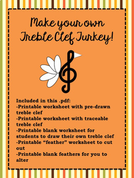 Create a Treble Clef Turkey - a fun music class activity for Thanksgiving!