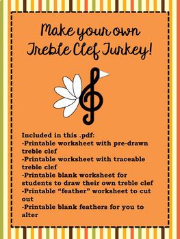 Create a Treble Clef Turkey - a fun music class activity f