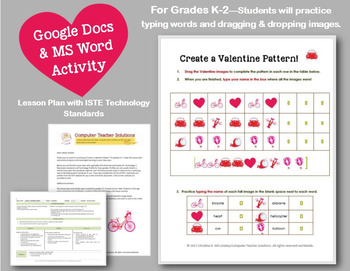 Create a Valentine Pattern! Use with GOOGLE Docs or MS Word!