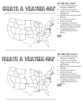 Create A Weather Map Worksheet.Create A Weather Map Round 2 By Becca Campbell Tpt