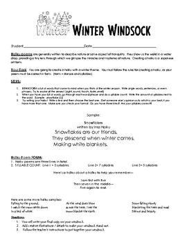 Create a Winter Windsock - Creative Writing Teaching Packet