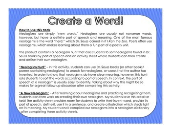 Create a Word!: Neologism Creation Activity (Great for Poetry!)