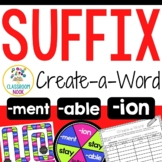 Create-a-Word Suffix Game (ion, ment, able)