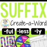 Create-a-Word Suffix Game (ly, less, ful)