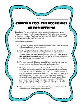 Create a Zoo!  An Economics Lesson!