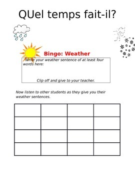 Create-a-bingo Weather FRENCH