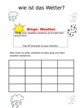 Create-a-bingo Weather GERMAN
