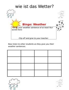 Create-a-bingo Weather GERMAN