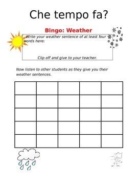 Create-a-bingo Weather ITALIAN