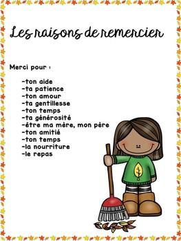 Card of thanks French thanksgiving pour l'action de grace