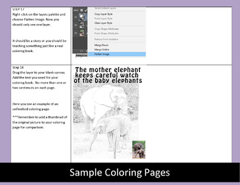 Coloring book with Adobe Photoshop CS3/CS5 and CC, two sets of instructions