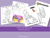 Coloring book with Adobe Photoshop CS3/CS5 and CC, two set