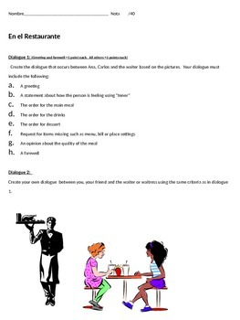 Create a restaurant dialogue based on the picture.