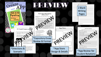 Create an App Expository Writing Activity, Secondary