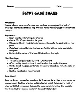 Create an Egypt Review Game