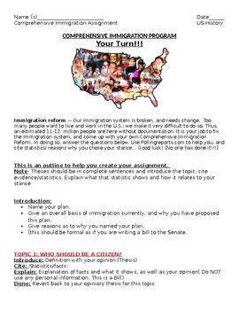 Create an Immigration Policy for the US- Comprehensive Immigration Prog. Project