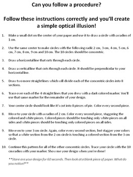 Create an Optical Illusion (Activity for Procedural Writing, Math and Art)