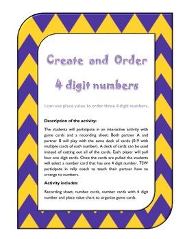 Create and Order three 4 digit numbers