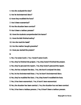 Create questions and answers with present perfect tense