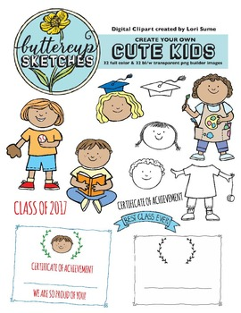 Cute Kid Clip Art Collection:  School children with accessories