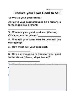 Create your Own Good to Sell!