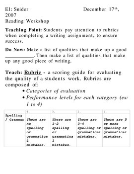 Create your Own Rubric