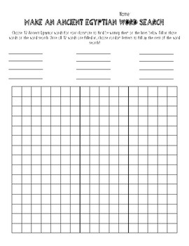 Create your own Ancient Egypt Word Search