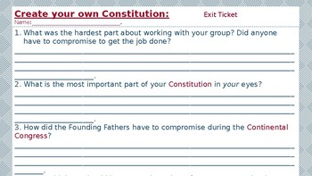Create your own Constitution Activity