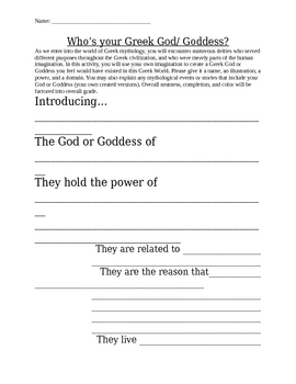 Create Your Own Greek God Goddess Worksheet Activity By Katie\u0027s Korner Greek Gods Characteristics Worksheet Create Your Own Greek God Goddess Worksheet Activity