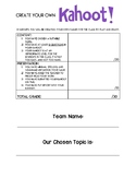 Create your own Kahoot! Project Outline and Rubric