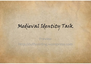 Create your own Medieval Identity - Middle Ages and Black Death Depth Study Task