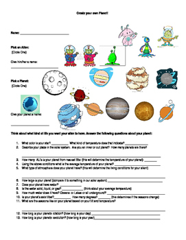 Create your own Planet a Summative Assessment
