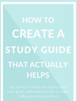 Create your own Study Guide guidelines