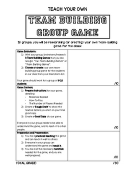 Create your own Team Building Game Rubric