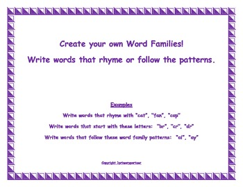 Create your own Word Families