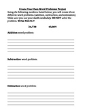 Create your own  Word Problem Activity