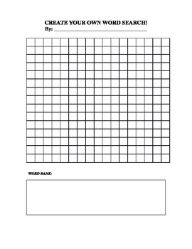 Create your own word search by catherine scheller tpt for Create your own word search template