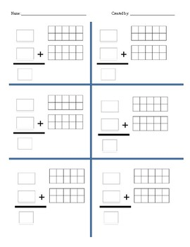 Create your own addition sheet, up to 20