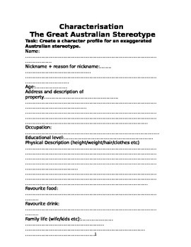 Create your own exaggerated Australian Stereotype