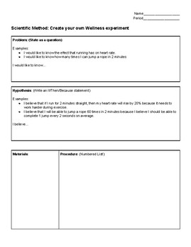 Create your own experiment - Wellness/Physical Education