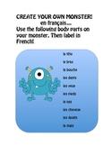 Create your own monster en français body parts
