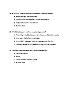 Creating America Chapter #2 Assessment