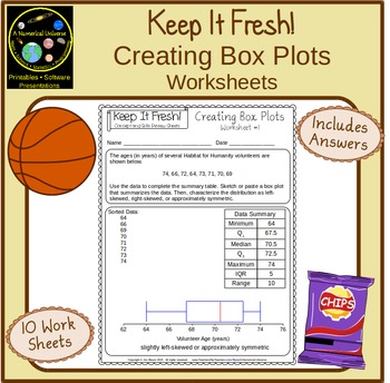 Box and Whisker Plots: Worksheets with Story Problems