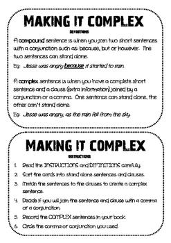 Creating COMPLEX SENTENCES - Activity
