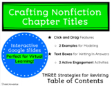 Creating Chapter Titles for Table of Contents in Non Fiction Reports