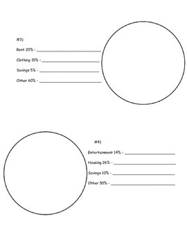 Using Percents - Creating Circle Graphs Worksheet; Real World Math