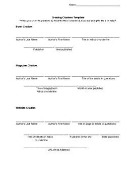 Creating Citations Template