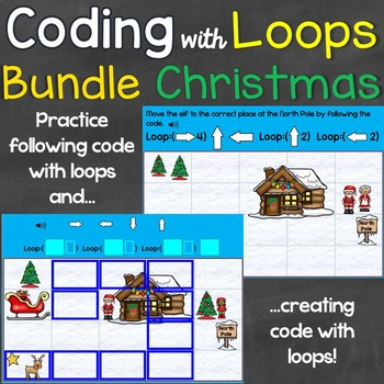 Creating Code with Loops Bundle, Computer Coding Looping Christmas Theme